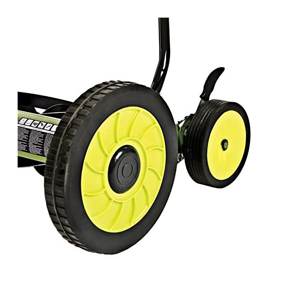 Sun Joe Manual Reel Mower 4 Steel frame and blades 18 inch wide cutting path 9-position height control