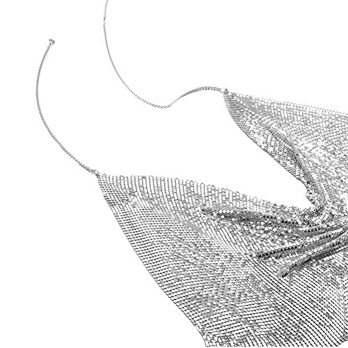 ShiningLove Sexy Lady Punk Alloy Bikini Chain Harness Chest Bra Body Chain Fashion Sequins Trim Backless Tops for Summer Swimsuit Silver by ShiningLove (Image #3)