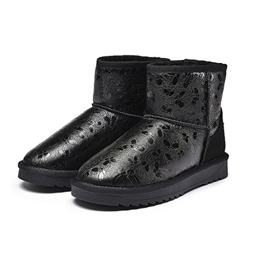 Women winter boots medium boots thickening warm shoes ( Color : Black , Size : US:6.5\UK:5.5\EUR:38 )
