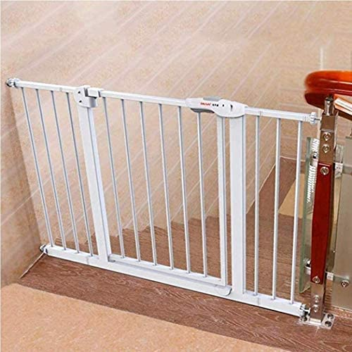 Household Fence Baby Gate Baby Safety Gate for Stairs Extra Wide Walk Through Expandable FenceDoor Pressure Mount Play Yard White Metal Plastic Guardrail Indoor Dog Fence