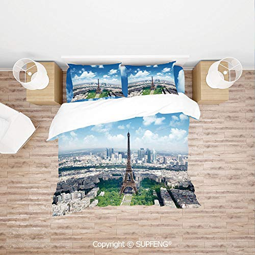 SCOXIXI 3D Duvet Cover Bedding Sets Aerial View of Eiffel Tower Skyline Cloudy Day Famous French Town City Picture Decorative (Comforter Not Included) Soft, Breathable, Hypoallergenic, Fade Resistant