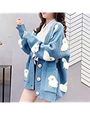 skrskr Women Oversized Knitting Cardigan Coat Cute Sheep Buttons Front with Pocket Loose Sweater Casual Jackets