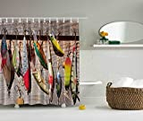 Clear Shower Curtain with Fish Design Moldiy Multi-color Fish on Hooks Design Shower Curtain Bait Pattern Nautical Polyester Bathroom Curtains,Home Decor 72inch x 72 inch