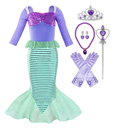KuKiee Little Girl Mermaid Princess Costume Ariel Party Dress Up (3T-4T/110, Mermaid Green with ()