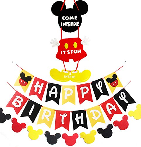 Mickey Inspired Mouse Party Supplies Banner Door Hanger Kit, Happy Birthday Banner Garland and Welcome Door Hanger Kit for Kids Birthday Baby Shower Mickey Mouses Theme Party Supplies]()