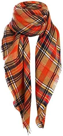 Pumsun Women's Fall Winter Scarf Double Sided Color Tassel Plaid Scarf Warm Wrap Shawl Scarves