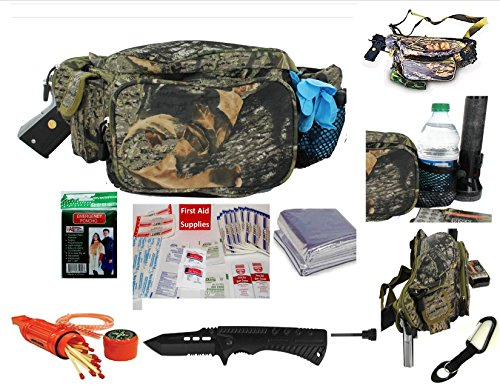 SIS HUNTERS CCW HUNTER SAFETY FANNY PACK WITH SURVIVAL ESSENTIALS-WILDLAND MOSSY OAK REALTREE CAMO (Black Oak Fanny Pack)