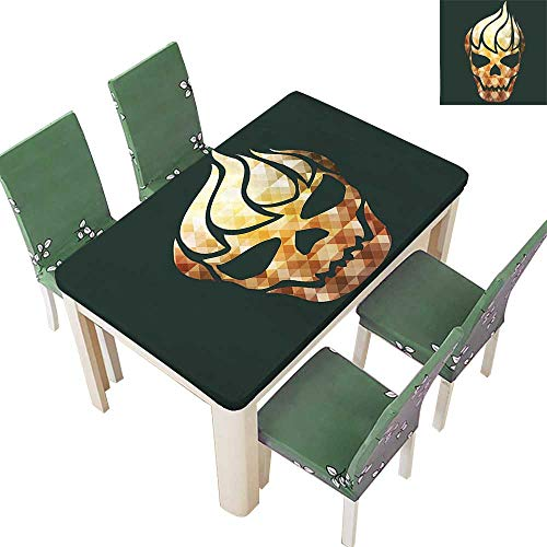 (SpillProof Tablecloth Skull with Fractal Effects in Fire Evil Halloween Concept Yellow Light Caramel Dark for Picnic,Outdoor or Indoor 54 x 102 Inch (Elastic)