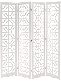 mygift folding wood 4 panel screen moroccan cutout room divider white