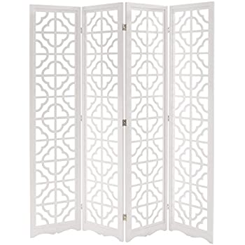 MyGift Folding Wood 4 Panel Screen, Moroccan Cutout Room Divider, White