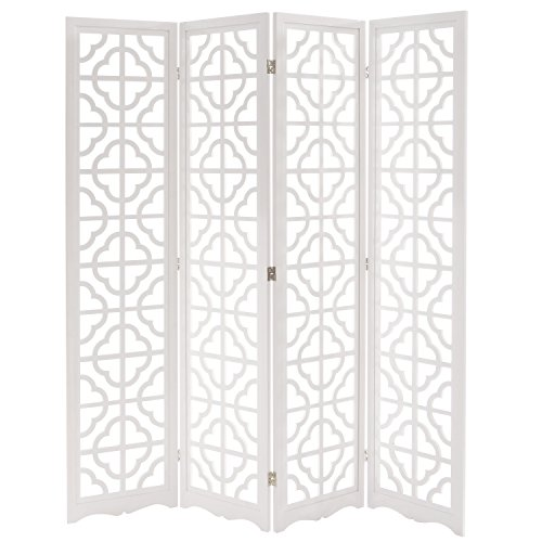 Wooden Folding Screen - MyGift Folding Wood 4 Panel Screen, Moroccan Cutout Room Divider, White