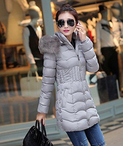 Longue Femme Bigood Capot Veste Manteau Doudoune Parka Gris Avec Hiver Chaud Slim aq041d0x