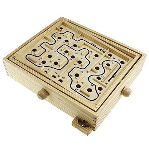 SZAT Original Wooden Labyrinth Balance Board Table Maze Solitaire Game for Kids and Adults