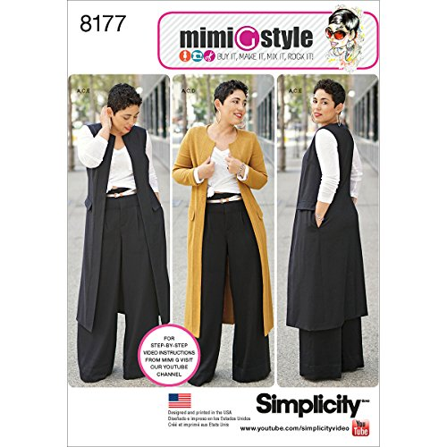 Simplicity 8177 Plus Size Pants Vest or Jacket, and Top Sewing Pattern For Women by Mimi G Style Sizes AA (10-18).
