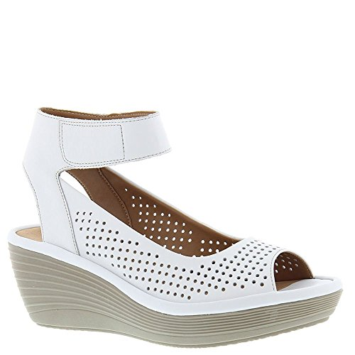 CLARKS Women's Reedly Salene Wedge Sandal, White Leather, 8
