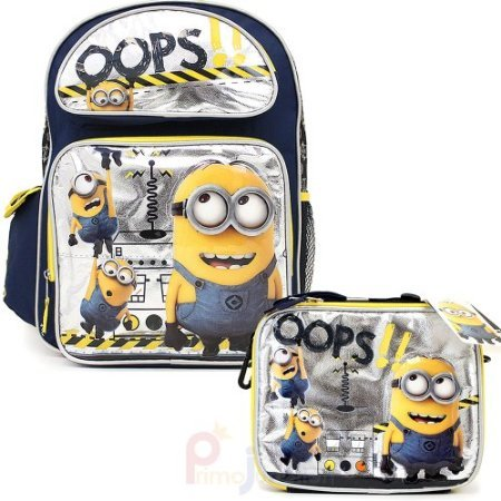Despicable Me 2 Minions 16' Large School Backpack Lunch Bag Set - Oops!