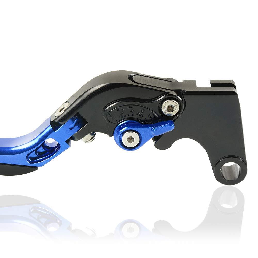 Moto CNC Aluminium R/églable Pliable Leviers dembrayage de Frein pour Suzuki GSXR 600 2006 2007 2008 2009 2010 GSXR 750 2006 2007 2008 2009 2010 GSXR 1000 2005 2006-Bleu+Noir+-Bleu+Noir