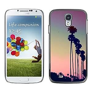Be Good Phone Accessory // Dura Cáscara cubierta Protectora Caso Carcasa Funda de Protección para Samsung Galaxy S4 I9500 // Los Angeles LA purple sunset palm trees