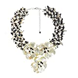 Midnight Floral Mother of Pearl and Cultured Freshwater Pearl Daisy Collar Necklace