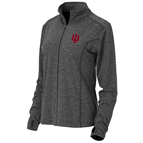 Ouray Sportswear NCAA Indiana Hoosiers Womens Swerve Full Zip Jacket, Large, Charcoal