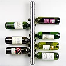 Polished Aluminum Wine Rack Bar Wall Mounted Kitchen Holder 12 Bottles