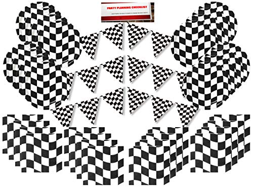 Checker Flag Race Day Party Supplies Bundle Pack for 16 (with 12 Feet of Checker Flag Banners Plus Party Planning Checklist by Mikes Super Store) -