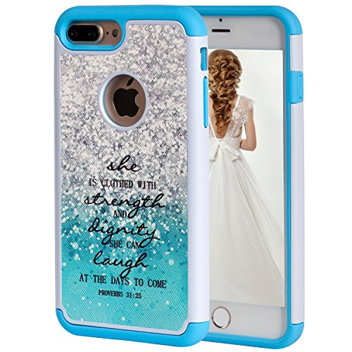 iPhone 7 Plus Case,iPhone 8 Plus Case,SKYFREE Christian Bible Verse Quotes Proverbs 31:25 [Shockproof] Hybrid Dual Layer Heavy Duty Protective Cover Case for iPhone 7 Plus (2016)/iPhone 8 Plus (2017)