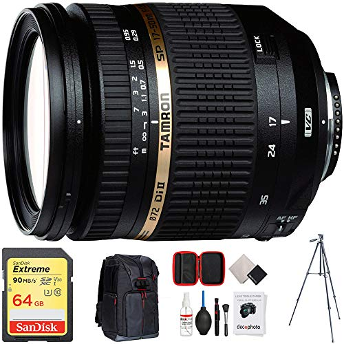 Tamron SP AF 17-50mm F/2 8 XR Di II VC LD Aspherical Lens (AFB005C-700) with 64GB Memory Card, Photo Camera Sling Backpack, Vanguard 60