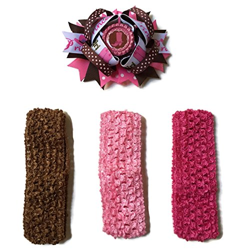 Rush Dance Cartoon Princess Superhero Bottle Cap Boutique Hair Bow Clip + Band (Pink Brown Cowgirl Boots - (Cartoon Cowgirl)