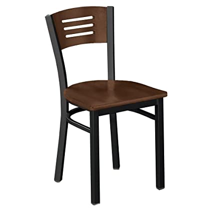 Amazon.com: Metal Frame Cafe Chair with Wood Seat and Back ...