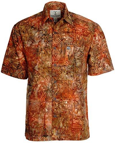 Artisan Outfitters Mens Surfboard Shortboard Batik Cotton Hawaiian Shirt (XL, Auburn Russet) A0214-54-XL