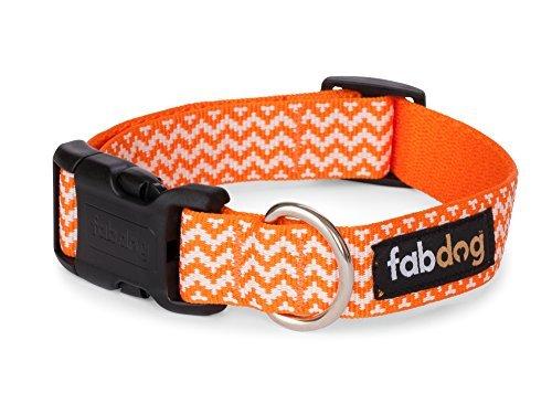 Fab Dog orange Chevron Nylon 1-Inch Dog Collar, Medium by Fab Dog