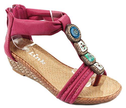 Price comparison product image JoJo26 Kids Red Cute T-strap Porcelain Gem Comfort Platform Wedge Sandal Shoes-12