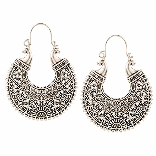 Efulgenz Indian Vintage Retro Ethnic Dangle Gypsy Oxidized Silver Tone Boho Hoop Earrings for Girls and Women Love ()