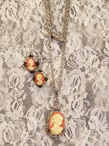 - Carnelian Lady Cameo Pendant Necklace and Matching Earrings Silvertone