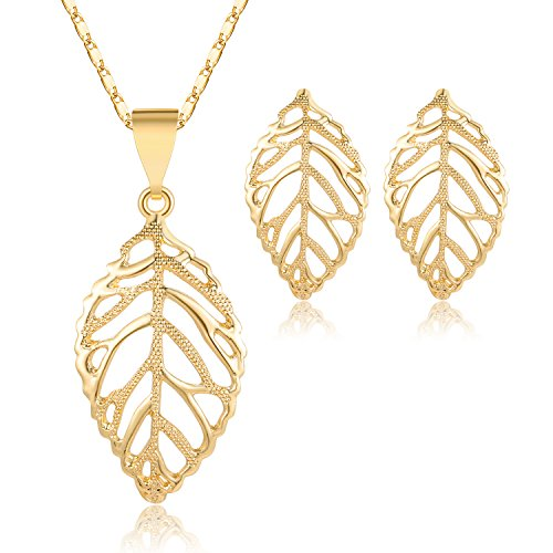 MOOCHI 18K Gold Plated Hollow Leaf Pendant Pattern Necklace Jewelry Set ()