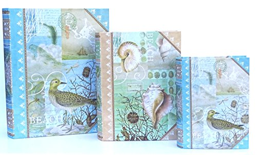 3 Pc Punch Studio Large Nesting Book Box Storage Organizer Set, Coastal Life Bird Shells Seashore (Nesting Book Boxes)