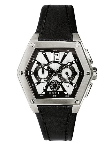 Breil Men's Mark Quartz Watch TW0673 with Silver/Black Chronograph Dial, Date, Stainless Steel Case, Black Leather Strap