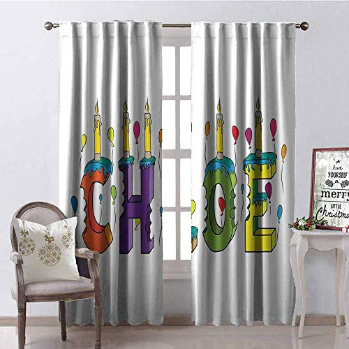 Gloria Johnson Chloe Wear-Resistant Color Curtain Lettering with Cheerful Bitten Cake Candles Girly Birthday Party Design First Name Waterproof Fabric W52 x L84 Inch Multicolor