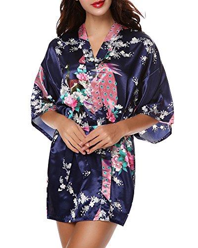 Avidlove Pijama lencería kimono corto de satén de estampado floral para Mujer, Azul oscuro, XX-Large: Amazon.es: Ropa y accesorios