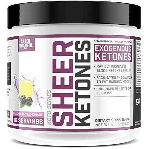 High Potency BHB Salts ~ Exogenous Ketones Formulated to Burn Fat, Boost Energy & Jumpstart Ketosis Fast | BlackBerry Lemonade Beta Hydroxybutyrates | Sheer Strength Labs, 8.18 oz (232g)