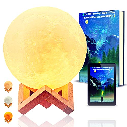 Moon lamp with stand 3d light lamp touch control glowing rechargeable astronomy gift moonlight gifts ideas for girls teenage kids baby decor lunar globe for parties birthday bedroom desk + Free eBook