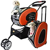 Pet Trailer Multi-Function Cat and Dog Cart Pet Trolley Bag Backpack Foldable Can Carry Pets in Many Ways Suitable for Pets Within 20Kg,Orange