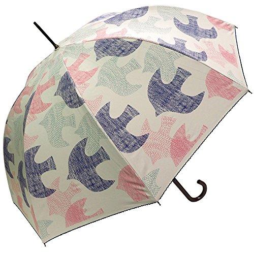 Clack傘晴雨兼用雨傘日傘ジャンプ傘シルバーコーティング紫外線99%カット鳥バードシルエット柄ポップデザインUVカットレディースホワイトFree【正規品】