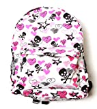 Clover White Backpack – Skull Crossbones and Sketched Hearts, Bags Central