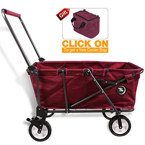 REDCAMP Collapsible Utility Cart for Camping, Folding Wagon With Pad All Terrain Perfect for Outdoor Sport, Red ()