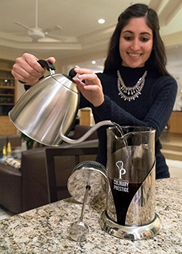 """Gorgeous [8 Cup] French Press Coffee Maker & Tea Maker (34 Oz) - Best Café Press Pot with 18/8 Grade Stainless Steel & No-Shatter Borosilicate Glass - Drink the Perfect Cafetiere Cuppa Every Time! 5 BLACK FRIDAY SUPER SALE COUPON - Want to save an EXTRA 10% TODAY Only? Use Coupon at checkout: LLPRIME1. Limited Stock! Expires Today! SKIP THE CAFÉ - OUR PATENTED SYSTEM IS 100 TIMES BETTER: Did you know that the IDEAL French press with the PERFECTLY SIZED micro filter actually UNLOCKS FLAVORS you've never tasted before? AROMAS you'll only find in a European Café? And the happiness only the perfect cuppa brings? Yeah, it's like that... 4 MINUTES - IMAGINE IF YOU COULD GET THE PERFECT CUPPA FASTER than your Barista could make it! If you're looking for a barista quality French press coffee maker that's actually FASTER than standing in line at you know where, then you'll love how our RAPID RELEASE stainless steel French Coffee press microfilter and plunger system delivers you SMOOTH, CREAMY COFFEE in 4 minutes or less! PICS DON'T DO IT JUSTICE! Stunning and sleek in design, this will have you (or your beloved gifted) saying """"OOOOH LA LA GORGEOUS!"""" Every detail is accounted - from the COOLTouch handle to the LUSTROUS 18/8 CHROME STAINLESS STEEL to the curvaceous design, to the sparkling borosilicate glass - it's a VISION to behold."""