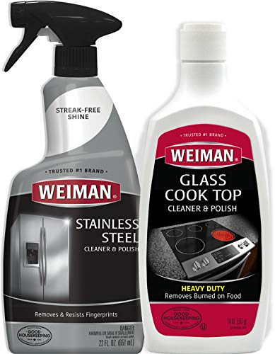 Weiman Stainless Steel Cleaner and Cooktop Heavy Duty Polish - Powerful Appliance Kitchen Cleaning Kit