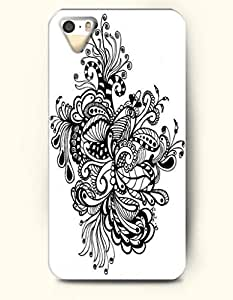 iPhone 5 5S Hard Case (iPhone 5C Excluded) **NEW** Case with Design Black Flowers- ECO-Friendly Packaging - Black And White Drawing Pattern Series (2014) Verizon, AT&T Sprint, T-mobile