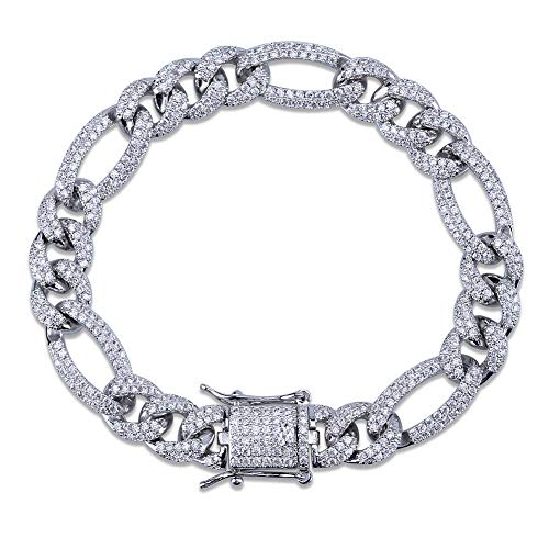 HECHUANG All Iced Out Simulated Diamond 10MM Gold Silver Plated Cuban Link Chain Bracelet Necklace (Silver Bracelet, 7)
